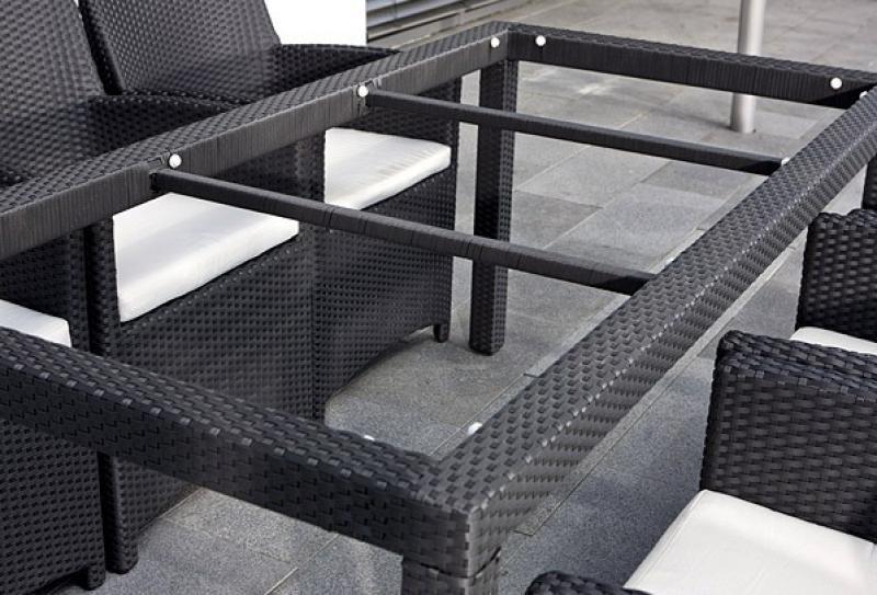 Rattan Gartentisch Linea/Malaga Esstisch 180 cm - Farbe: schwarz