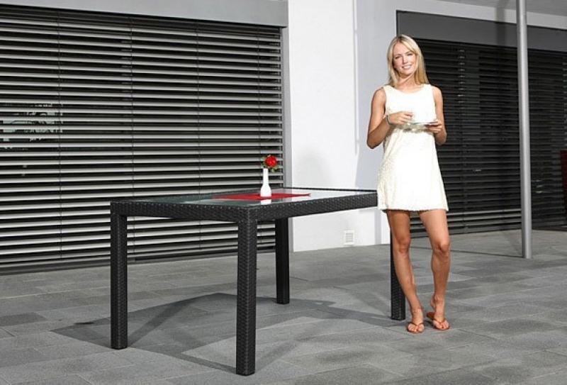 Rattan Gartentisch Linea/Malaga Esstisch 150 cm - Farbe: Dunkelbraun