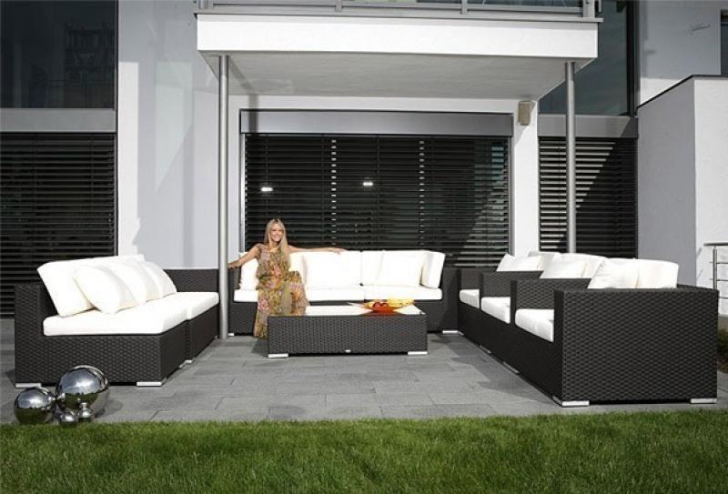 Rattan XXL Loungemöbel Set Espace 5a - 10-teilig - Farbe: dunkelbraun