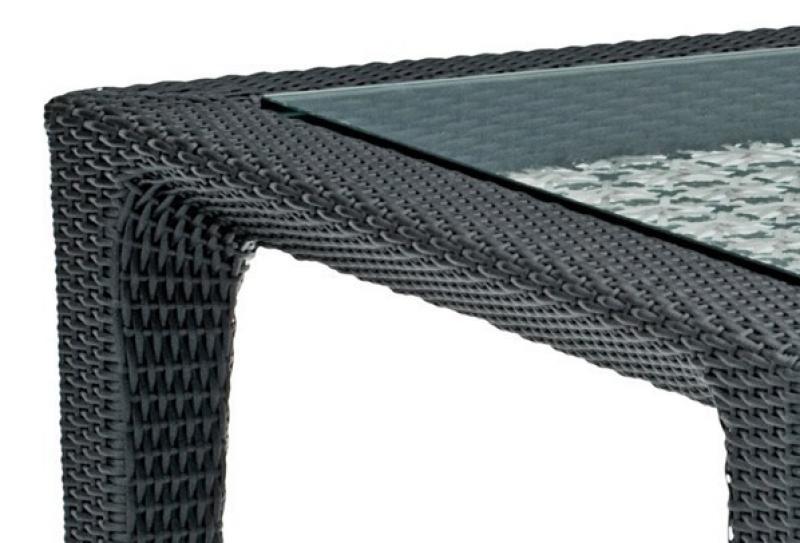 Landmann Rattan Tisch Fiorana Tisch mit Glasplatte - Farbe: Mocca / Silk White