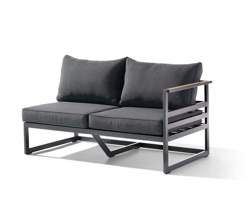 Sieger Gartenmöbel  Sydney eisengrau-grau 2-Sitzer Sofa rechts - Loungemöbel