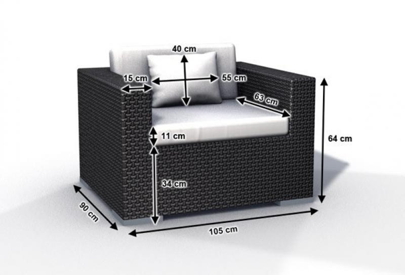 rattan loungeelement espace luxus sessel inkl kissen farbe dunkelbraun. Black Bedroom Furniture Sets. Home Design Ideas