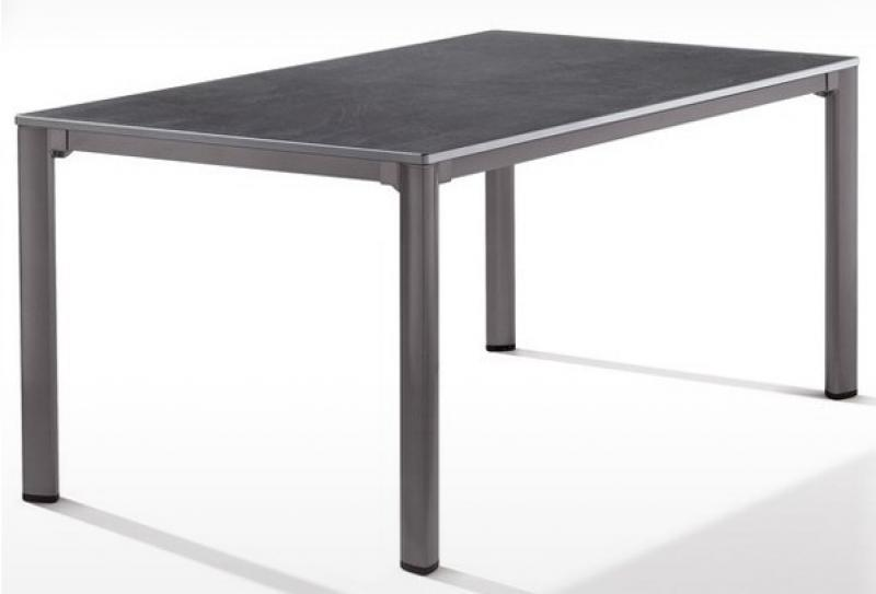 Sieger Exclusiv Tisch Puroplan Schiefer anthrazit 165x95cm - Gestell eisengrau