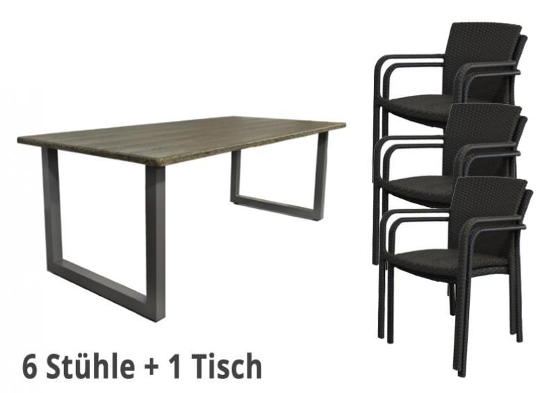 Restposten: 7-teiliges Gartenmöbel-Set - 6x Rattan Stapelstühle + 1x 2,10 m langer Tisch