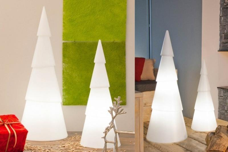 8 Seasons Designs - Shining Christmas Tree rund - Hoch 75 cm - Farbe weiß in Kunststoff
