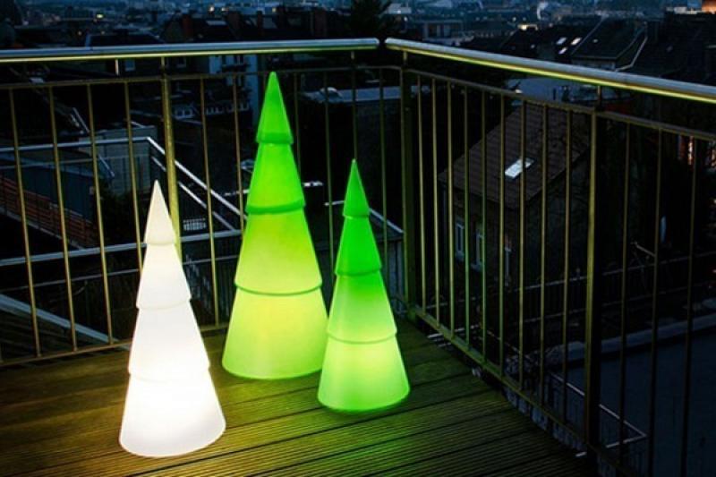 8 Seasons Designs - Shining Christmas Tree rund - Hoch 100 cm - Farbe grün in Kunststoff