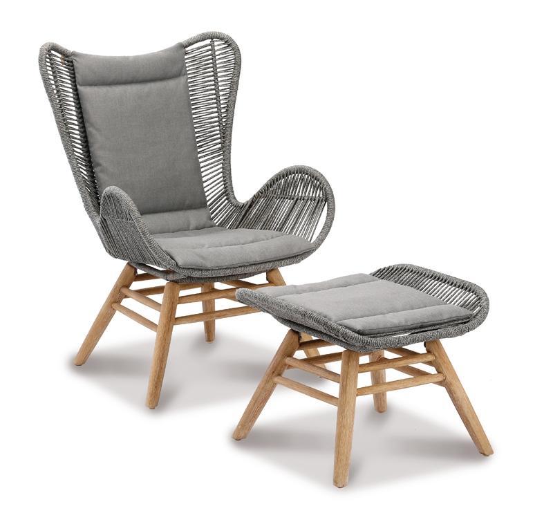 Best Rückenpolster-Set für Relax-Lounge-Sessel Asmara - Dessin 1820 - betongrau