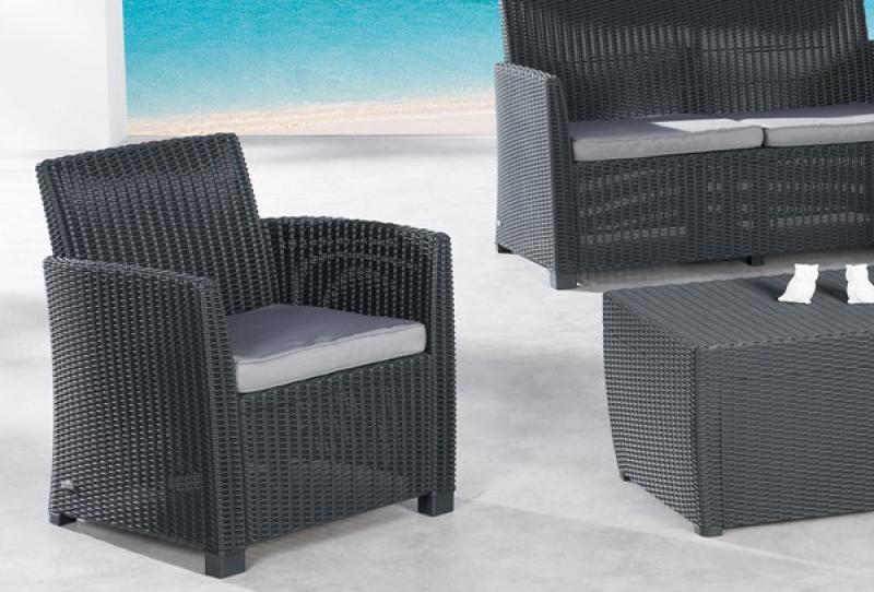 best 4 tlg lounge gruppe bali farbe graphit hellgrau. Black Bedroom Furniture Sets. Home Design Ideas