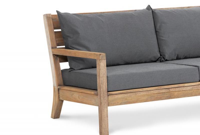 Lounge sofa outdoor teak  Teak Couch Moretti 2-Sitzer, Farbe: grey wash-anthrazit