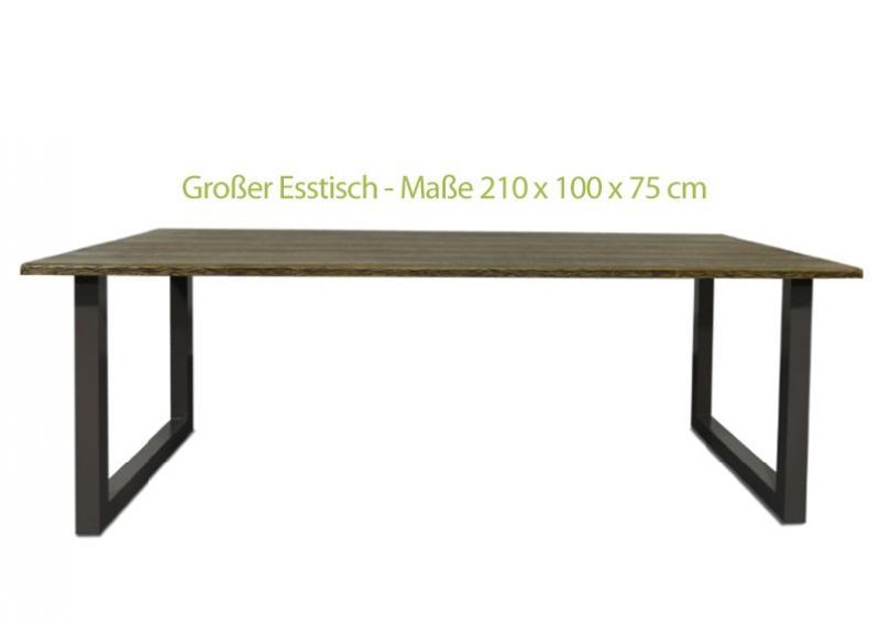 Esstischgarnitur Set Hamburg 1 - Gartenmöbel Esstischgruppe inkl. 6 Gartenstühlen - Farbe: Bicolor grau braun meliert