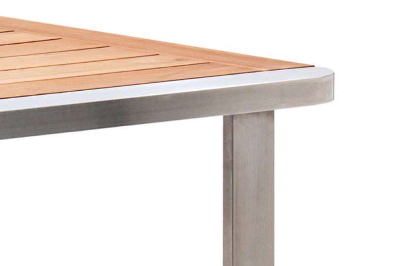 landmann garvida esstisch cabrera aus edelstahl mit teakholz tischplatte 180x90x74cm. Black Bedroom Furniture Sets. Home Design Ideas