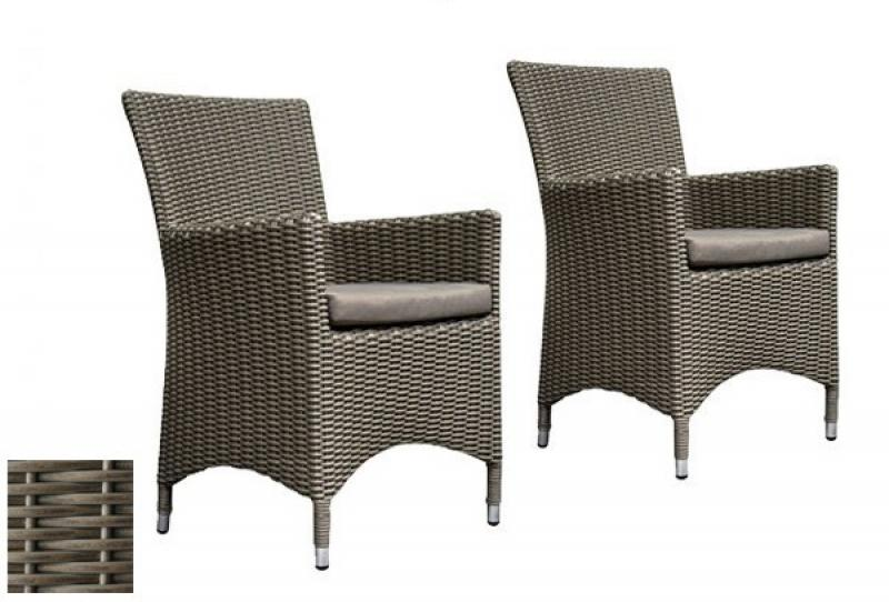 rattan gartensessel stuhl linea 2er set farbe grau taupe. Black Bedroom Furniture Sets. Home Design Ideas