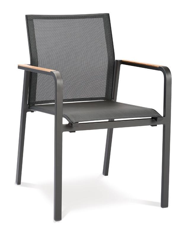Best Stapelsessel Paros - Dining-Sessel mit Teakholz-Armlehne - Aluminium/Ergotex/Teak in anthrazit/anthrazit