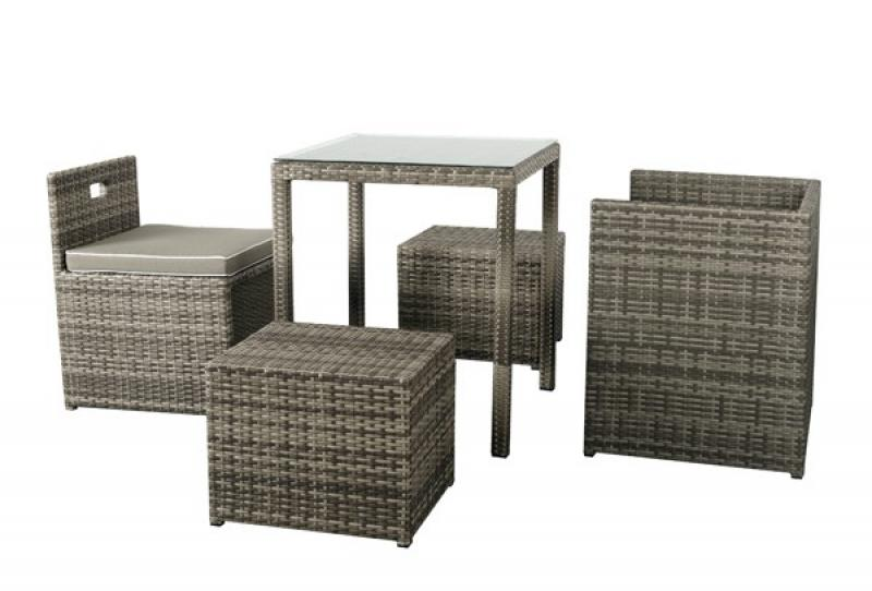 rattan balkongruppe set cubus sessel hocker esstisch farbe grau braun meliert. Black Bedroom Furniture Sets. Home Design Ideas