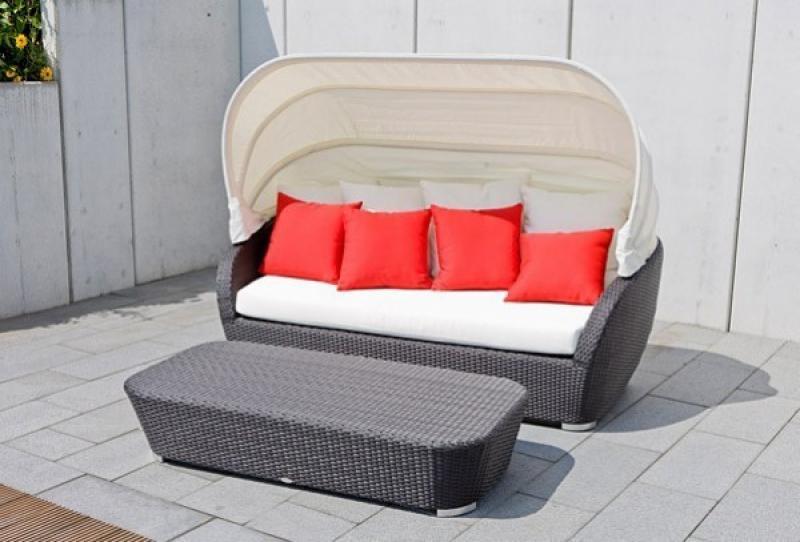 Rattan Gartenmuschel Sunny Sonneninsel Set inkl. Rattanbank - Farbe: schwarz