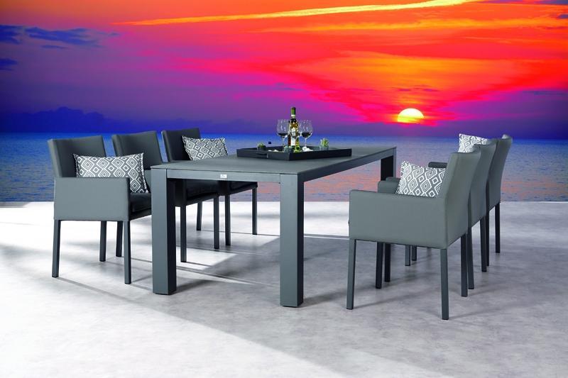 Best Freizeitmöbel Sensotex Dining-Tischgruppe Tobago 7-teilig inkl. Sitzpolster anthrazit