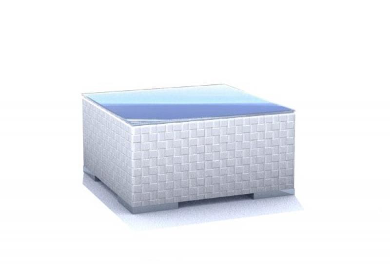 Rattan Loungeelement Espace Premium Tisch B 75x75cm - Farbe: Cremeweiß