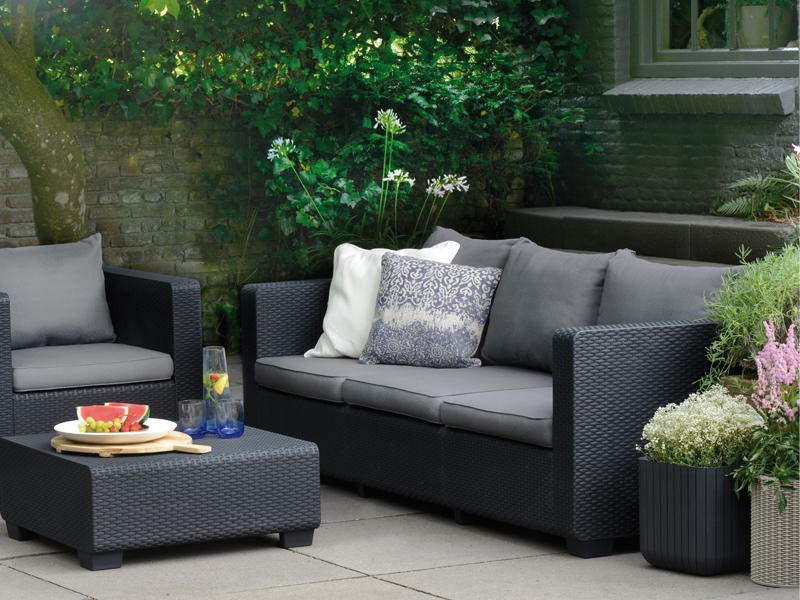 Gartenmöbel-Set Lounge-Gruppe Burano 4-tlg. inkl. Sitzauflagen ...