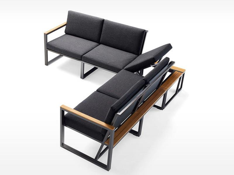 Sieger Gartenmöbel  Havanna eisengrau-grau Eckteil mit verstellbarem Sitz - Loungemöbel