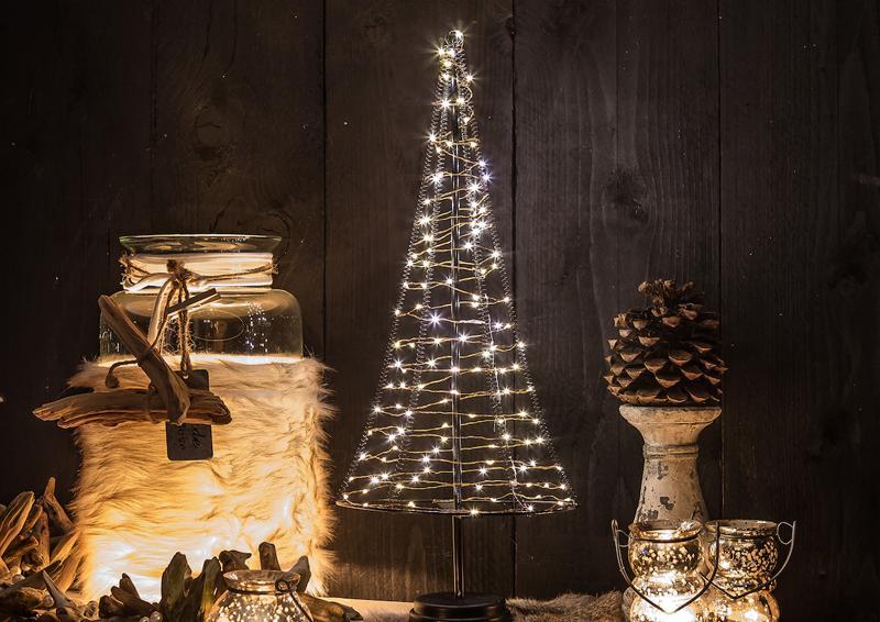 LED-Lichterbaum-Kegel Weihnachtsbaum für innen - Größe: XL - 50 cm hoch - 120 LED-Lampen: warmweiß
