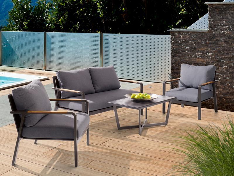 Loungemöbel outdoor günstig grau  Sieger Aluminium Lounge Gruppe Serie NASSAU, eisengrau / grau 1-Sitzer