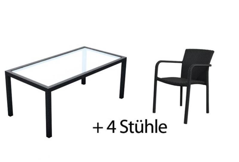 Rattan Garten-Essgruppen Malaga Set 1 Esstisch 180 cm + 4 Stapelstühle - Farbe: schwarz