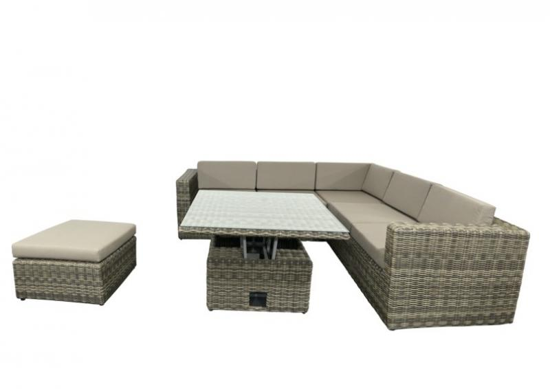 rattan loungegruppe m bel set 4 turino farbe grau braun meliert. Black Bedroom Furniture Sets. Home Design Ideas