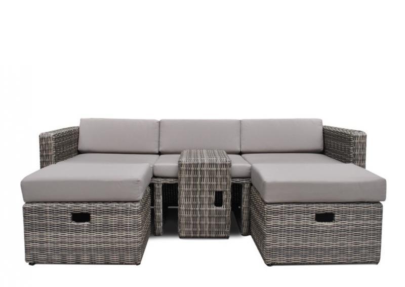 Poly rattan lounge grau  Rattan Loungemöbel Gartensofa Hannover 3-5 Sitzer - Farbe: grau ...
