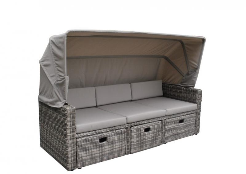 Rattan Loungemöbel Gartensofa Hannover 3-5 Sitzer inkl. Sonnenverdeck - Farbe: grau-braun meliert