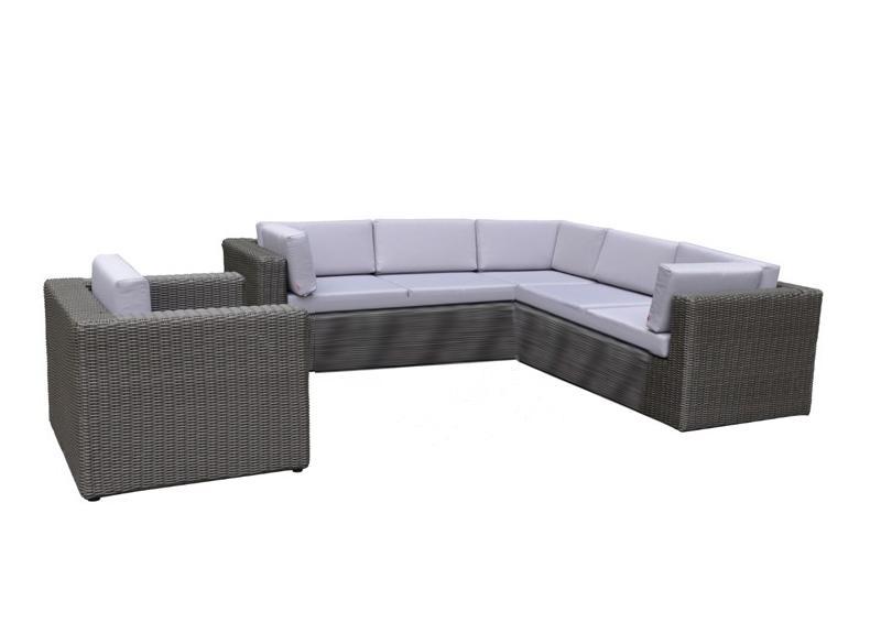 Rattan Loungegruppe Möbel Set 3 Turino - Farbe: dunkelgrau/grau
