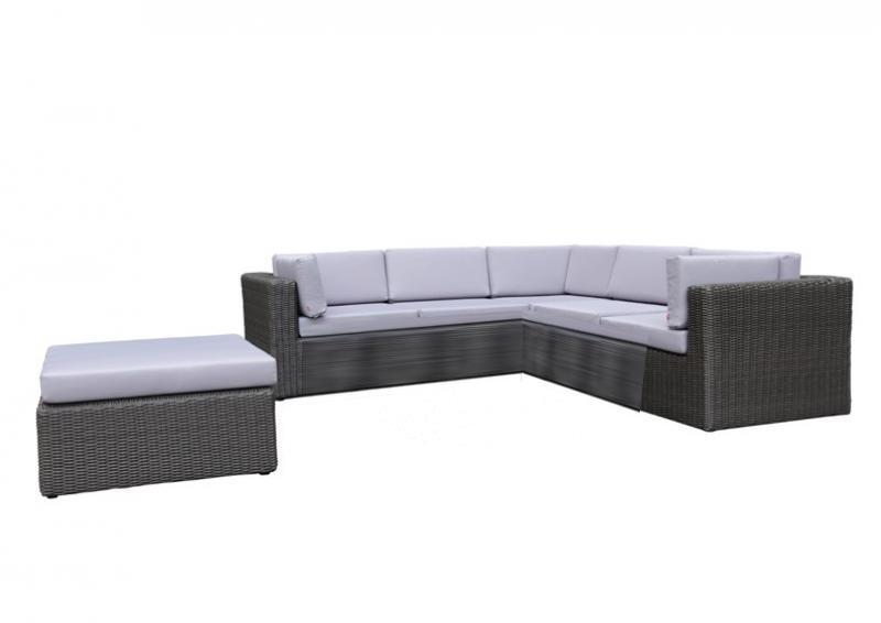 Rattan Loungegruppe Möbel Set 4 Turino - Farbe: dunkelgrau/grau