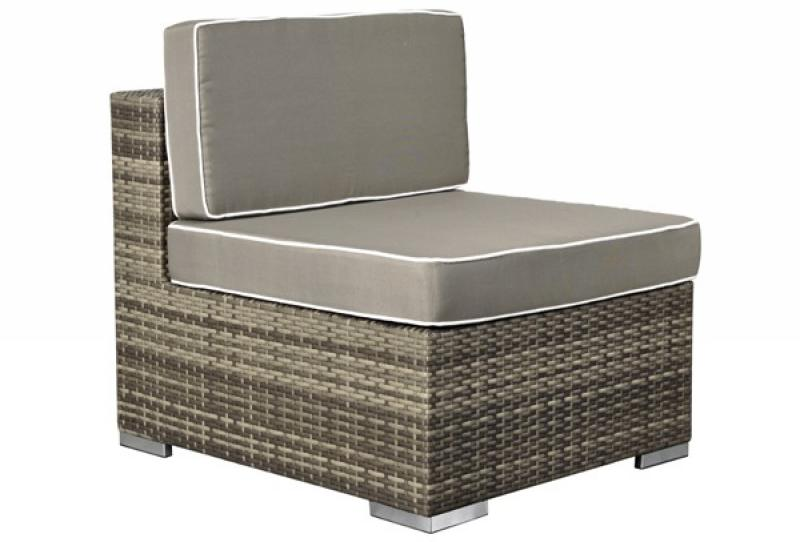 rattan xxl loungem bel espace mittelsofa farbe grau braun meliert. Black Bedroom Furniture Sets. Home Design Ideas