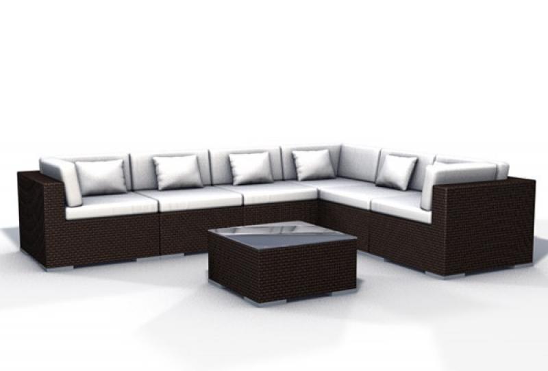 Rattan XXL Loungemöbel Set Espace 2a - 7-teilig - Farbe: dunkelbraun