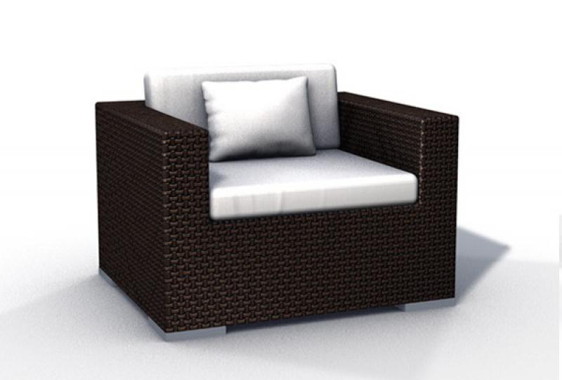 Rattan XXL Loungemöbel Espace Luxus Set 6 - 4 Sessel inkl. Kissen - Farbe: Dunkelbraun
