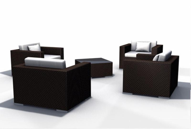 Rattan Lounge Espace Luxus Set 6 - 4 Sessel inkl. Kissen - Farbe ...