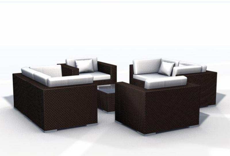 rattan lounge espace luxus start 4 6 sitze inkl kissen farbe dunkelbraun. Black Bedroom Furniture Sets. Home Design Ideas