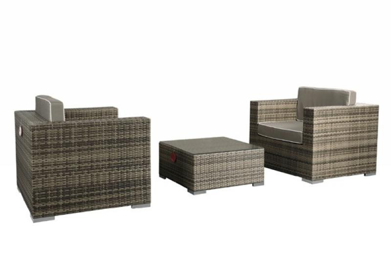 rattan xxl loungem bel set espace 2 3 teilig farbe grau braun meliert. Black Bedroom Furniture Sets. Home Design Ideas