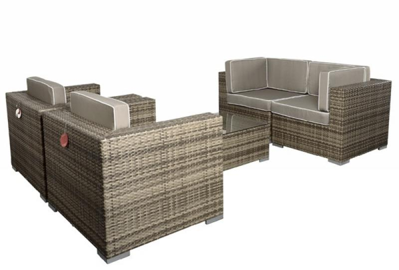 rattan xxl loungem bel set espace 3 5 teilig farbe grau braun meliert. Black Bedroom Furniture Sets. Home Design Ideas