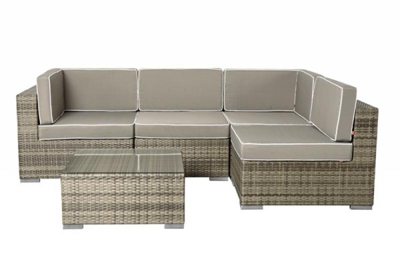 rattan xxl loungem bel set espace 5 5 teilig farbe grau braun meliert. Black Bedroom Furniture Sets. Home Design Ideas