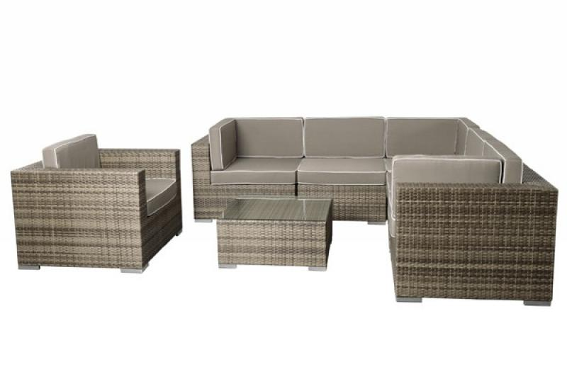 rattan xxl loungem bel set espace 6 7 teilig farbe grau braun meliert. Black Bedroom Furniture Sets. Home Design Ideas