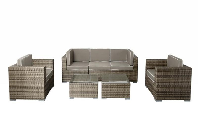 rattan xxl loungem bel set espace 9 7 teilig farbe grau braun meliert. Black Bedroom Furniture Sets. Home Design Ideas