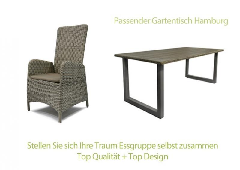 Rattan Relaxsessel Gartenstuhl Rotterdam Rückenlehne Verstellbar   Farbe:  Bicolor Grau Braun Meliert