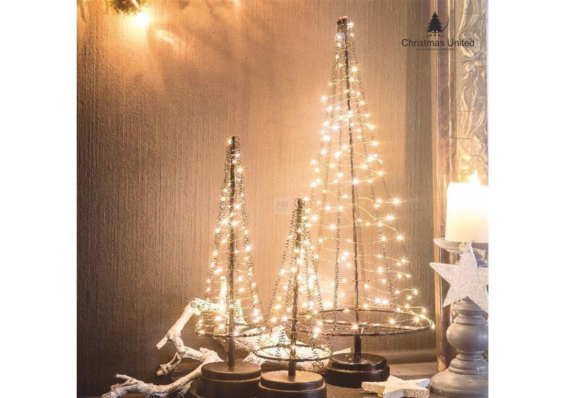 LED-Lichterbaum-Kegel Weihnachtsbaum für innen - Größe: M - 32 cm hoch - 60 LED-Lampen: warmweiß