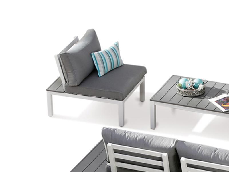 Best Lounge-Einzelelement Sessel/Mittelteil Santorin inkl. Sitz- und Rückenpolster - Aluminium/Sensotex - weiß/grau