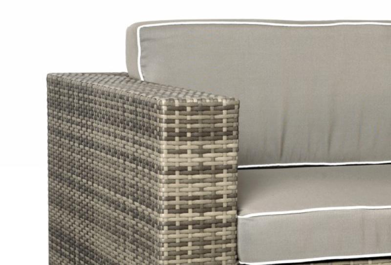 Rattan XXL Loungemöbel Set Espace 9 - 7-teilig - Farbe: grau braun meliert