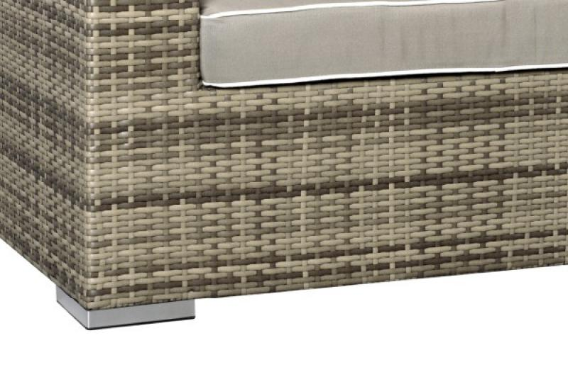 Rattan XXL Loungemöbel Set Espace 3 - 5-teilig - Farbe: grau braun meliert