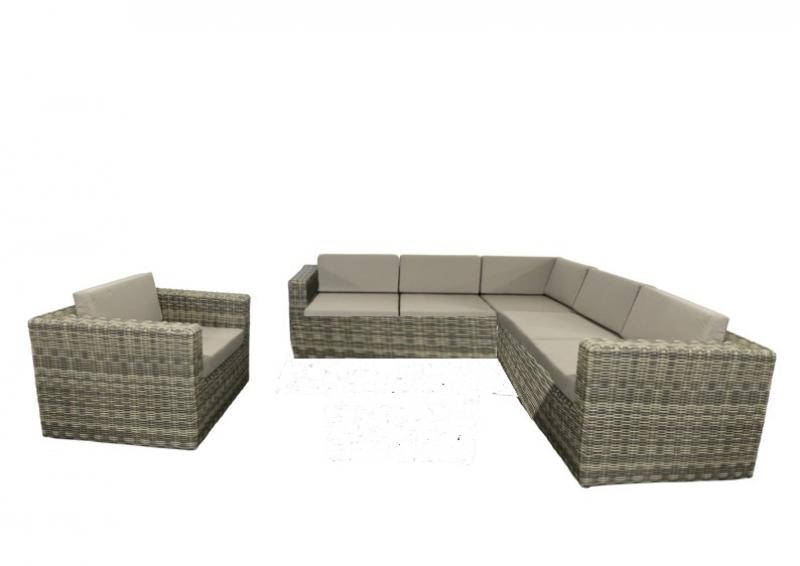 rattan loungegruppe m bel set 3 turino farbe grau braun meliert. Black Bedroom Furniture Sets. Home Design Ideas