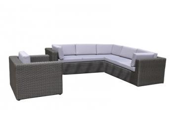 Rattan Loungegruppe Möbel Set 3 Turino   Farbe: Dunkelgrau/grau