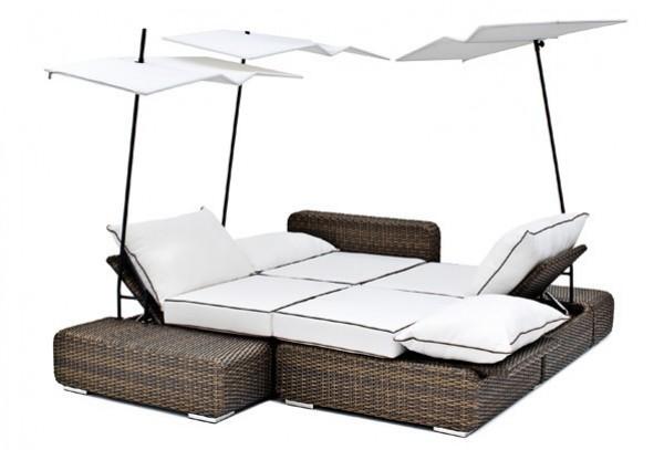 Landmann GarVida Landmann Rattan Lounge Estata mit Sonnensegeln - 4 Sitze - Farbe: schwarz-braun
