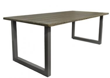 garten esstisch alu mit beschichteter holzplatte hamburg 210 x 100 x 75 cm farbe grau braun. Black Bedroom Furniture Sets. Home Design Ideas